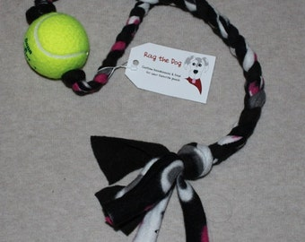 Black & Pink Braided Fleece Rope Pull Toy with Tennis Ball for Dog