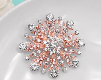 Ros Gold Crystal Brooch, Crystal Rhinestone Brooch, Wedding Brooch, Bridal Brooch, Rose Gold Crystal brooch 497724892