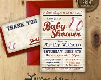 Baseball Baby Shower Invitation, Baseball Shower Invite, Vintage Baseball Shower Invitation, DIGITAL YOU PRINT