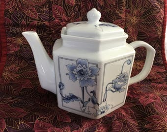 Toscany Blue Floral on White Porcelain Teapot, Cobalt Blue on White Floral Teapot, Azure Pattern, Toscany Azure Teapot, Toscany Collection