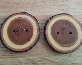 2 Handmade Huge Wooden Buttons 55mm Tree Branch Button Sewing Knitting Craft UK Seller