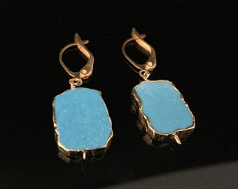 Sliced Turquoise Earrings // Turquoise Dipped in 18k Gold Vermeil // Lever Wires