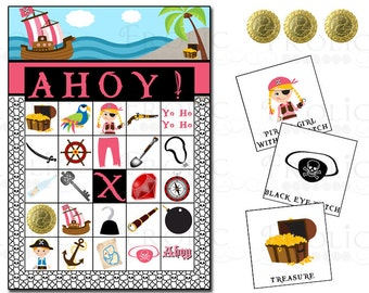 Pirate Girl bingo 10 printable cards INSTANT DOWNLOAD