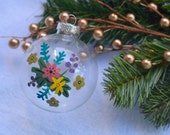 Wildflower Glass Ornament bulb Merry Christmas Happy Holidays hand-painted decoration peony twig blue green brown pink
