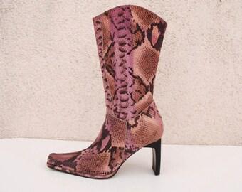 Vintage 90s Purple Ankle Boots Purple Snake Skin Print Boots High Heel Purple Leather Boots Size Eur /36  US /5.5  UK/ 3.5