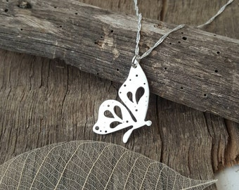 Sterling silver Butterfly pendant with hand pierced details