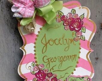 Baby announcement sign, baby hospital door sign, sign, newborn announcement sign, newborn sign, nursery door sign, nursery room sign
