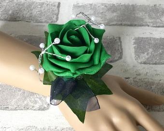 Emerald Green Wrist Corsage,  Green Wedding Bracelet, Green and Navy Corsage, Beaded wedding bracelet, Prom Wrist Corsage, Wrist Band