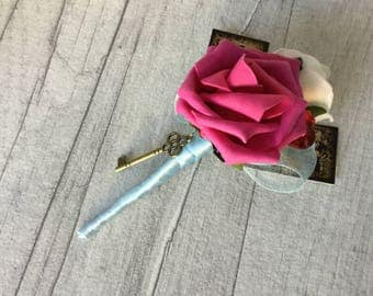 Pink Alice in Wonderland  Buttonhole, Alice in Wonderland Wedding, White Roses,  Queen of Hearts, Alice Corsage, Alice Buttonhole