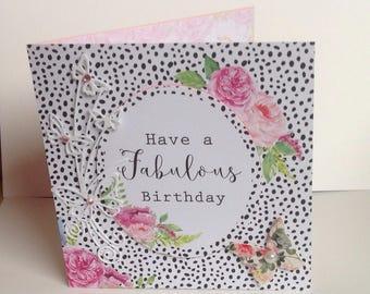 Shabby Chic Handmade Birthday Card