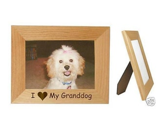 i love my granddog 5 x 7 picture frame personalized photo engraved as you like