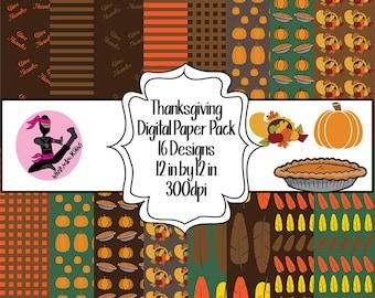 Thanksgiving Digital Paper Pack- 16 Designs- Instant Download