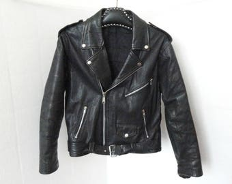 Vintage Biker Leather Jacket // Perfecto Jacket // Size 50