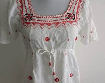 Red and white cotton boho top