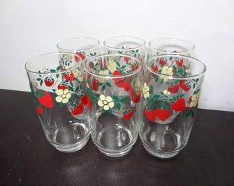 Vintage Anchor Hocking Strawberry and Floral Drinking Glasses - Set of 6