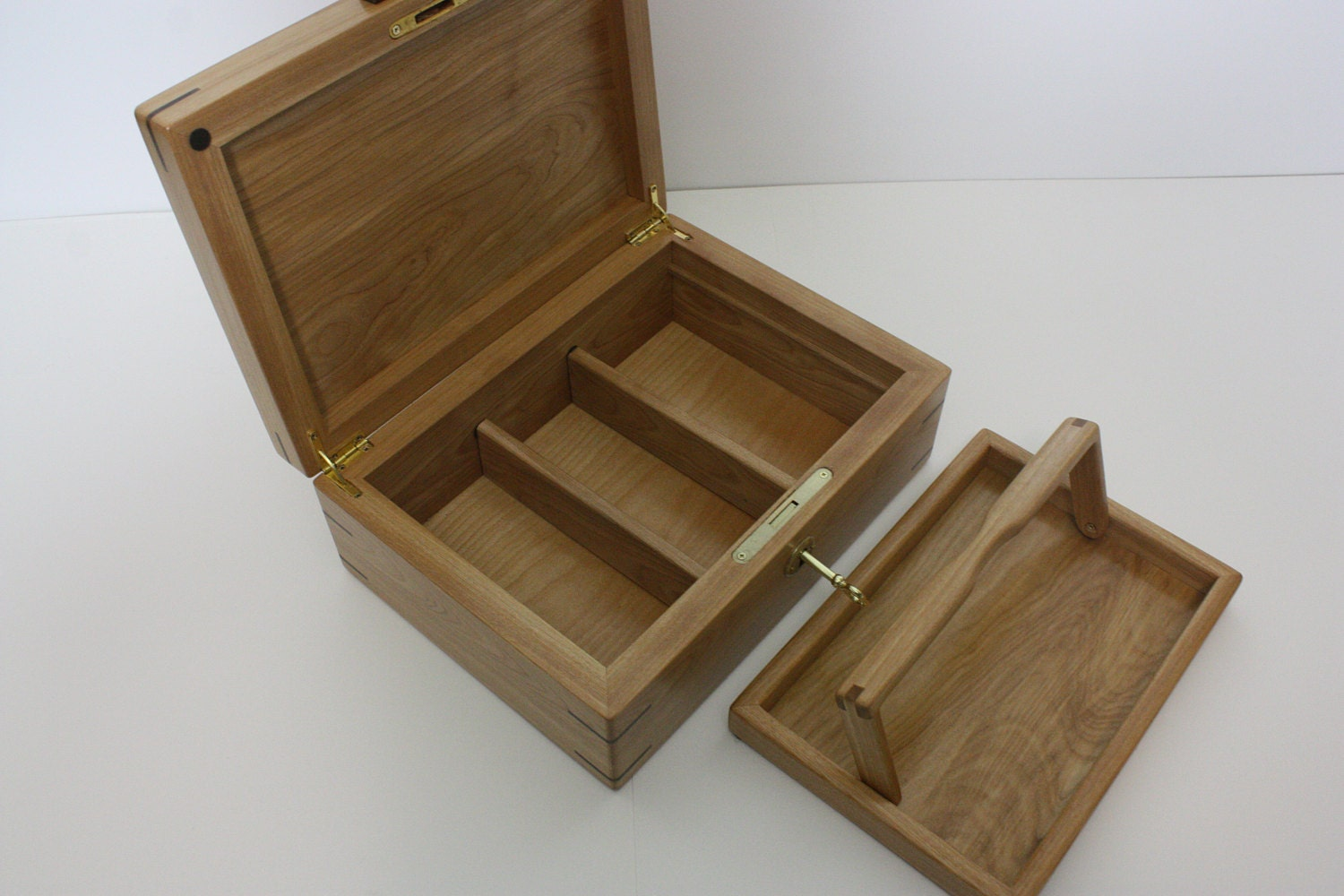Locking Red Birch Wood Box with Tray and Dividers