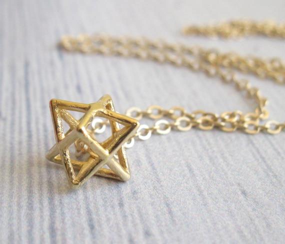 gold of david necklace magen david merkaba necklace