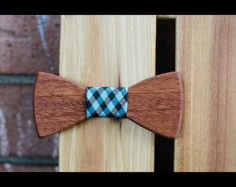 Mohagany Wood Bow Tie (Blue Plaid)