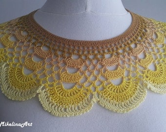 Handmade Crochet Collar, Neck Accessory, Spicy Mustard Colour & Yellow, 100% Cotton