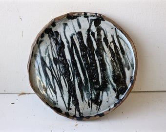 Small Black and White Round Platter