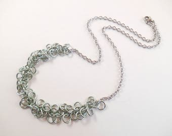 Mint Shaggy Necklace - Mint Anodized Aluminum Shaggy Loops Chain Maille Necklace