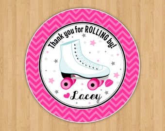 Roller Skates Favor Tags in Pink