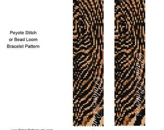 Tiger Stripes Bracelet Pattern - Peyote Stitch or Bead Loom Delica Bracelet Pattern