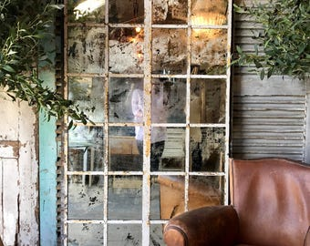 NOW SOLD - Beautiful Vintage French Architectural / Industrial Mirrored Window frame