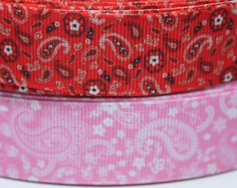 Bandanna 7/8 / 1 Inch Grosgrain Ribbon by the Yard for Hairbows, Scrapbooking, and More!!