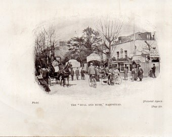 Mounted bookplate The Bull and Bush Hampstead F W Hackwood 1909