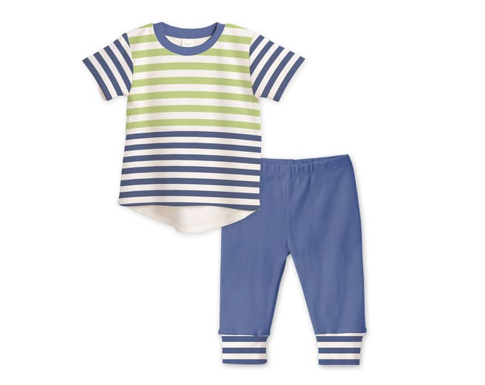 Baby Boy Outfit, Baby Boy Tshirt & Pants, Baby Boy Leggings, Baby Shower Gift, Minimalist, Blue and Green Stripes, Tesababe TL120IGBI0000