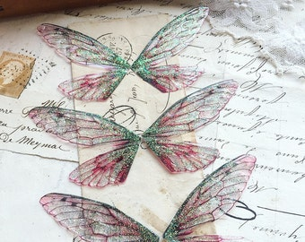 NEW Set of three small pink faerie wings
