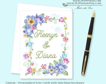 Free Ship!  Set of 12 Personalized / Custom Notecards, Boxed, Blank Inside, Floral, Frame, Leaves, Flowers, Blue, Monogram, Name