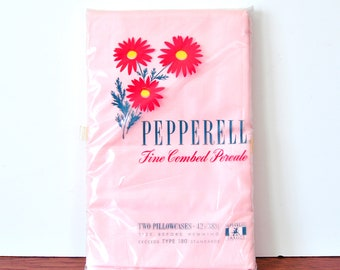 Vintage Pepperell Pink Pillowcases, Pair of Standard Cotton, NOS