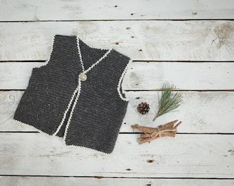 Dark grey vest / Knitted vest / Knitted Baby Vest /  Wool Baby vest / Girl / Kids vest / Children vest / Toddler vest