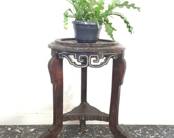 Small table round console romantic 19th century pedestal tripod wood