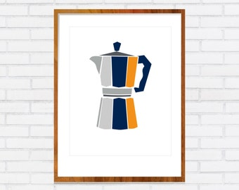 Coffee Pot Print. Moka Pot. Vintage Mid Century Modern Art DIGITAL DOWNLOAD