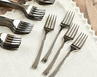 Appertizer Forks Silver Plastic 4.5 inches Hors d'oeuvre Forks NEW-Fast and Free USA Ship