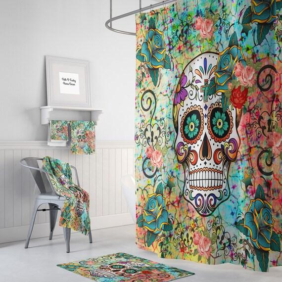 abstract skull shower curtain sugar skull bathroom set. Black Bedroom Furniture Sets. Home Design Ideas
