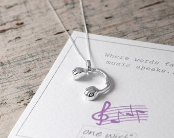 Headphones Necklace In Sterling Silver, Music Lover, Gift for Her, Music Necklace, Dj Necklace, Festival Necklace