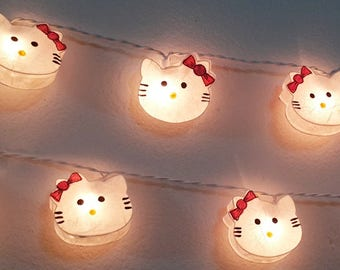 garland string lights lovely sweet white cat 20 party patio fairy decor mulberry paper kid baby bed room living room gift