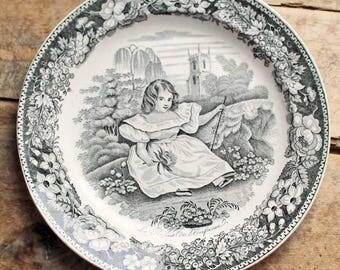 Antique 1830's plate Creil et montereau, French Black White Transferware Plate 'Le repos de L'enfance', L. Lebeuf montereau