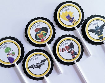 Set of 12 Personalized Lego Batman Cupcake Toppers, Lego Batman Birthday Party, Lego Batman Birthday, Lego Batman Party, Lego Batman