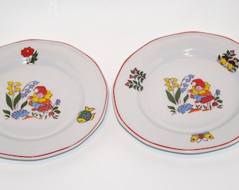 Set of 2 Vintage Kids Plates with fairy tale animals, Soviet Ceramic, Childrens Dishe, Baby Plate, Childrens Plate, Dinnerware Lubiana 80's