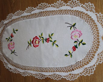 Beige hand embroidered linen table runner Oval Polish floral multicolour Flowers Roses Embroidery Serape Hand made flowery dresser scarf