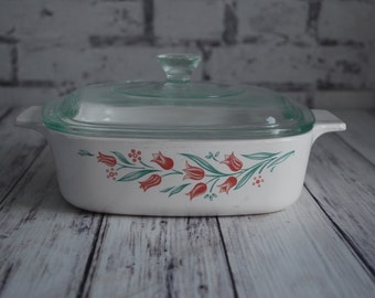 Corning Ware Rosemarie Covered Casserole 1 Liter, 1L, With Lid, A1B11, Vintage Tulip Pattern