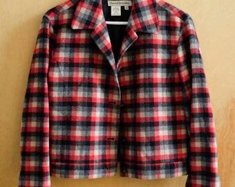 Spring SALE!  Vintage Cropped Plaid Ladies Jacket, Size Small