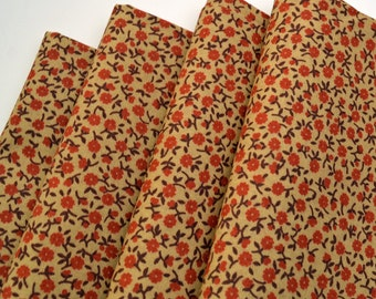 Napkins Red Flowers on Beige Cotton Set of 4