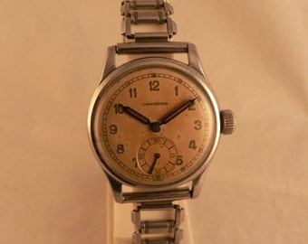 Vintage Concord Wrist Watch 17J All Stainless Steel Swiss Ca 1940's