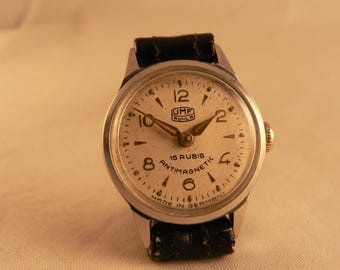 Vintage UMF Ruhla Ladies Wrist Watch 15J All Stainless Steel Germany Ca 1950's